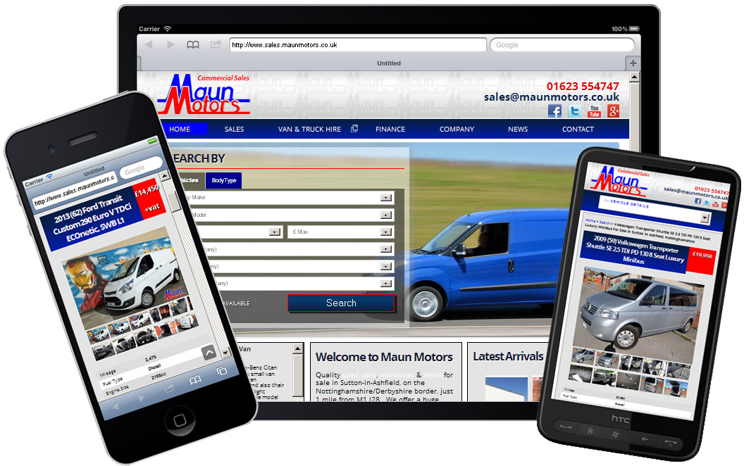 Maun Motors Sales Website on Mobile Devices
